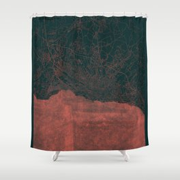 Lausanne Map Red Shower Curtain