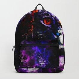 cat red eyes splatter watercolor purple Backpack