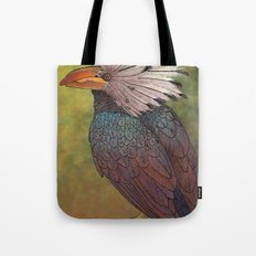 White Crested Hornbill Tote Bag