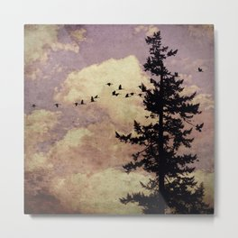 Lone Lavender Pine Tree Metal Print