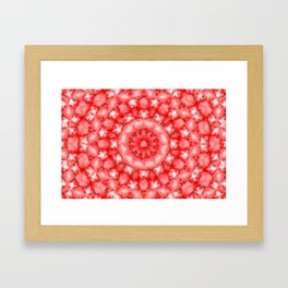 Kaleidoscope Fuzzy Red and White Circular Pattern Framed Art Print