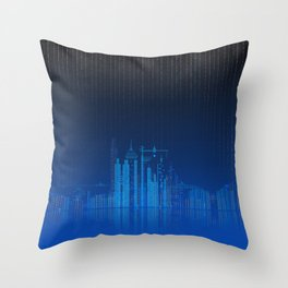 Sky Lines City Lake by Night Throw Pillow
