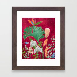 Fuchsia Pink Floral Jungle Painting Framed Art Print