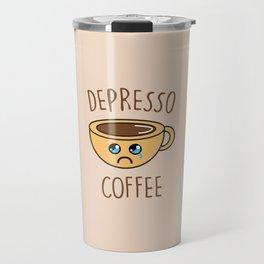Depresso Coffee, Funny, Quote, Coffee Travel Mug