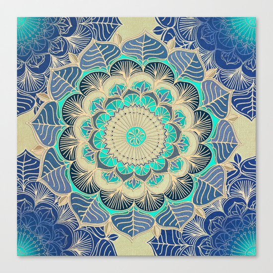 Midnight Bloom - detailed floral doodle in gold, navy blue & mint Canvas Print