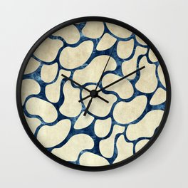 Gold Beans Outline Rose Teal Paper Wall Clock
