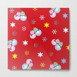 Snowflakes & Pair Snowman_D Metal Print