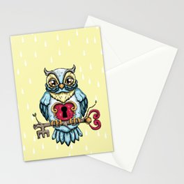 Owl with Key Stationery Cards