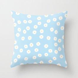 Sky Blue Flowers Throw Pillow
