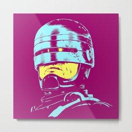 Robocop (neon) Metal Print