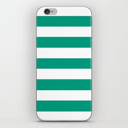 Paolo Veronese green - solid color - white stripes pattern iPhone Skin