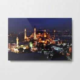 Hagia Sophia Night Metal Print