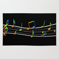 music notes Area & Throw Rugs featuring Rainbow Music Notes on Black by GBC Design