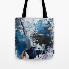 Breathe: colorful abstract in black, blue, purple, gold and white Tote Bag
