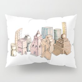 the city painted in pastel colours . illustration . art Pillow Sham