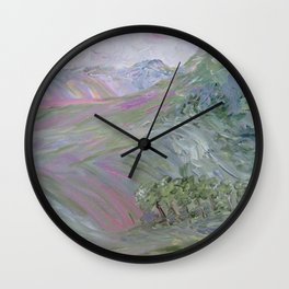 Pink Landscape Under Rosy Clouds Wall Clock