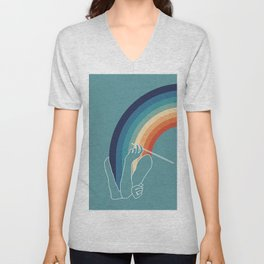 colorful drawing Audrey Hepburn breakfast at Tiffani's - no smoking rainbow Unisex V-Neck