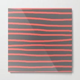 Living Coral Stripes on Gray Metal Print