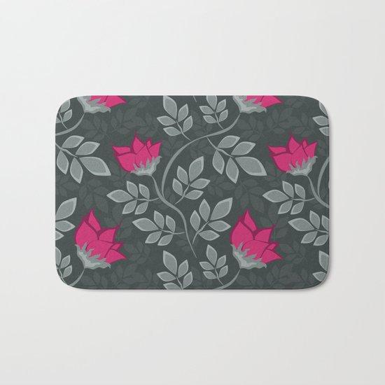 Bright pink flowers on gray Bath Mat