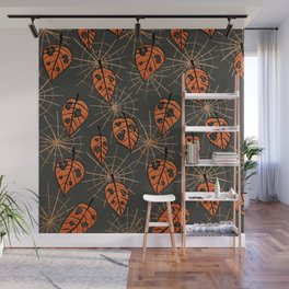 Orange Leaves With Holes And Spiderwebs Wall Mural