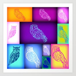 Abstract owls with rainbow colours Art Print
