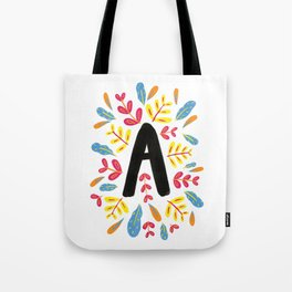 Letter 'A' Initial/Monogram With Bright Leafy Border Tote Bag