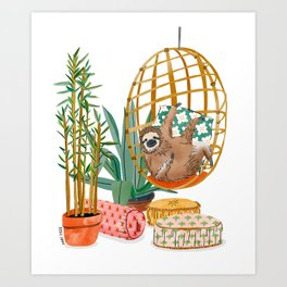 Relaxing Sloth Art Print