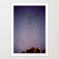 Meteors near the Milky Way Art Print