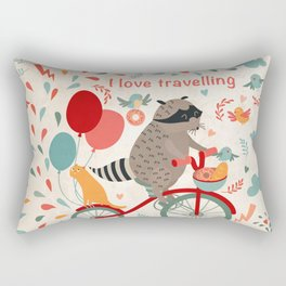 Cute raccoon on a bicycle with a cat, birds, balloons and drops. 'i love travel' text. Trip, journey Rectangular Pillow