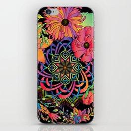Neon Mandala and Flowers iPhone Skin