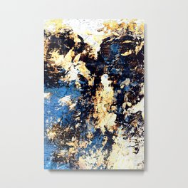 Urban II - Navy Textured Abstract Metal Print