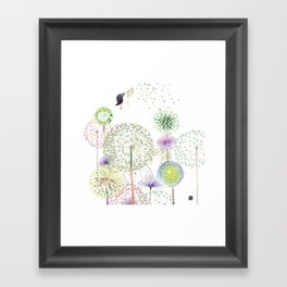 DANDELION FUN Framed Art Print
