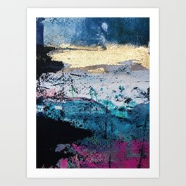 Twilight: a beautiful, abstract watercolor + mixed-media piece in blue, gold, purple, pink, + black Art Print