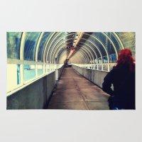 onward Area & Throw Rugs featuring Onward Into The Tunnel Forbidden  by AJ Calhoun