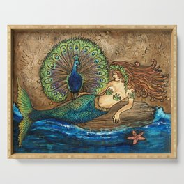 Mermaid and Peacock Serving Tray
