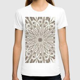 off white sepia swirl mandala T-shirt