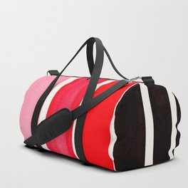 Red Minimalist Mid Century Modern Color Fields Ombre Watercolor Staggered Squares Duffle Bag