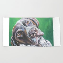 GSP German Shorthaired Pointer dog portrait art from an original painting by L.A.Shepard Beach Towel