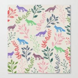 Watercolor Floral & Fox III Canvas Print