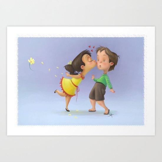 Kiss the boy Art Print
