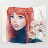 redhead Wall Tapestries featuring Captain Goldfish by milyKnight