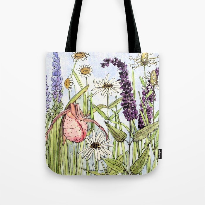 Lady Slipper Orchid Woodland Wildflower Watercolor Tote Bag