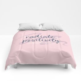 "Pink & Purple Watercolor ""Radiate Positivity"" Quote Comforters"