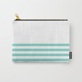 Turquoise Blue Half Stripes Carry-All Pouch