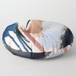 708 - a minimal mixed media abstract piece in blues, pinks, and white Floor Pillow