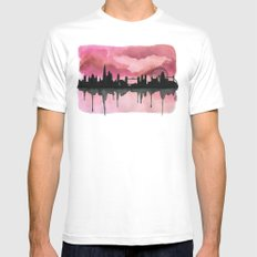 London Skyline 2 Pink Mens Fitted Tee MEDIUM White