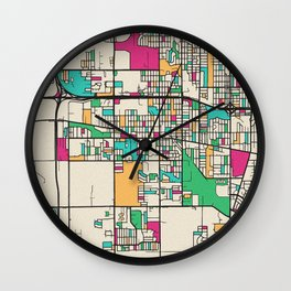 Colorful City Maps: Lansing, Illinois Wall Clock