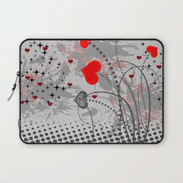 Abstract background with red hearts Laptop Sleeve