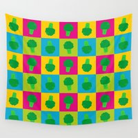 popart Wall Tapestries featuring Popart Broccoli by XOOXOO