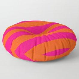 Bright Neon Pink and Orange Horizontal Cabana Tent Stripes Floor Pillow